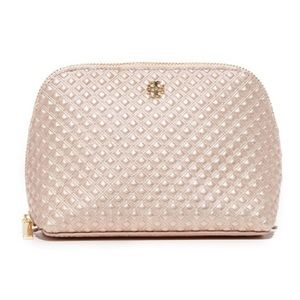 tory burch // rose gold metallic cosmetic pouch